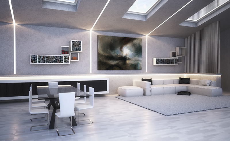 EL112 profili illuminazione indiretta led render ambiente