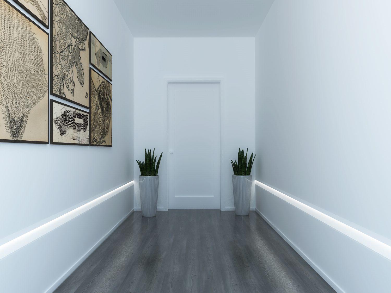 EL406 profili illuminazione indiretta led segnapasso per parete corridoio