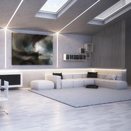 taglio di luce nel soffitto e parete