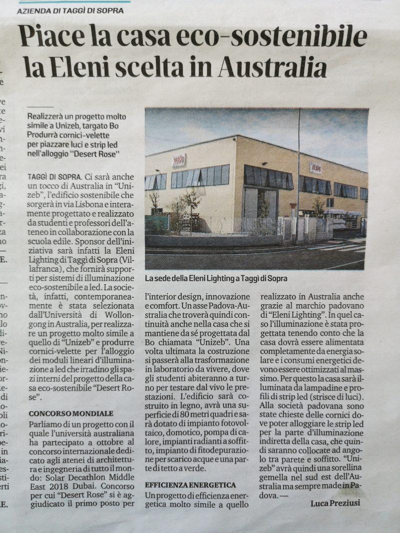 Articolo di giornale locale su Eleni Lighting