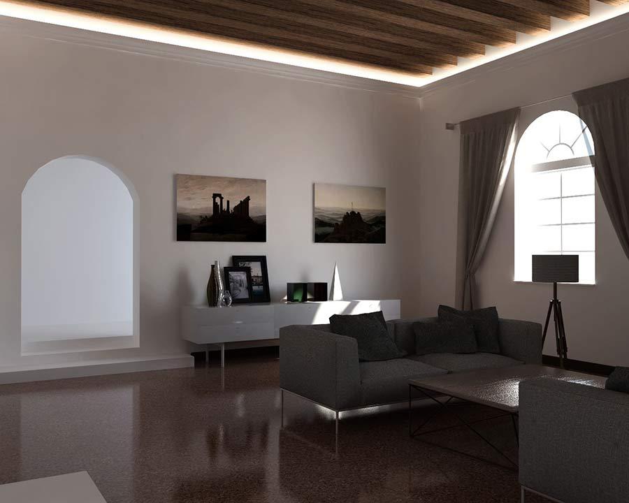 Illuminazione diffusa soggiorno eleni lighting